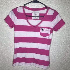 Abercrombie & Fitch XS Pink White V Neck TShirt